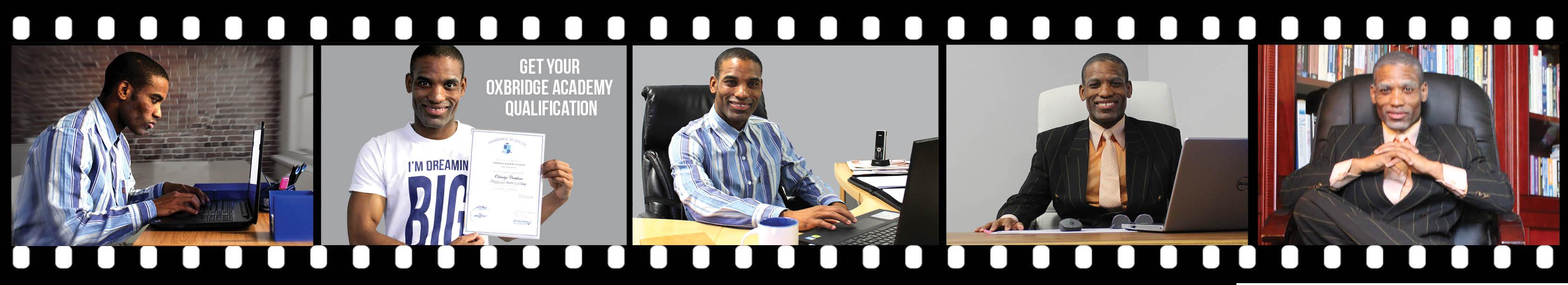 Film strip of successful guy